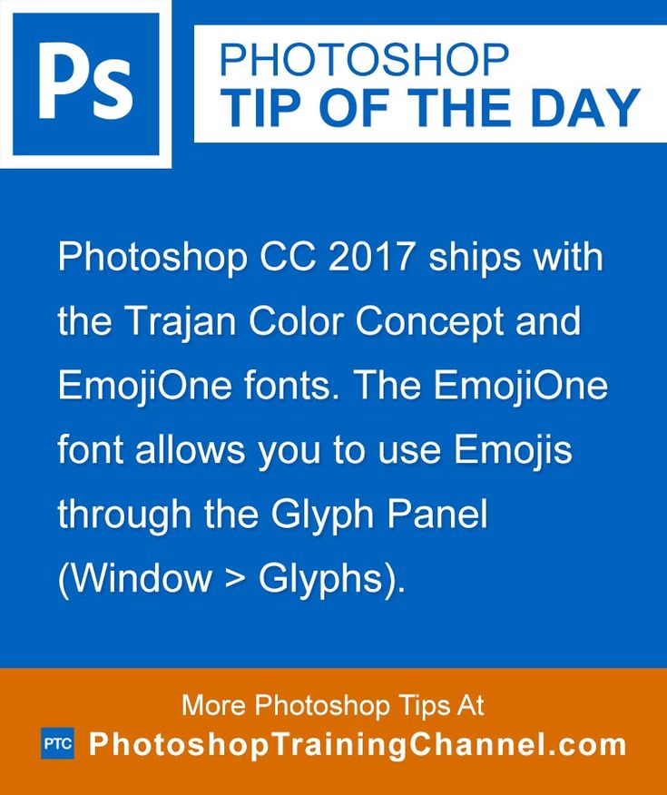 Photoshop CC 2017 ships with the Trajan Color Concept and EmojiOne fonts. The EmojiOne font allows you to use Emojis through the Glyph Panel (Window > Glyphs).