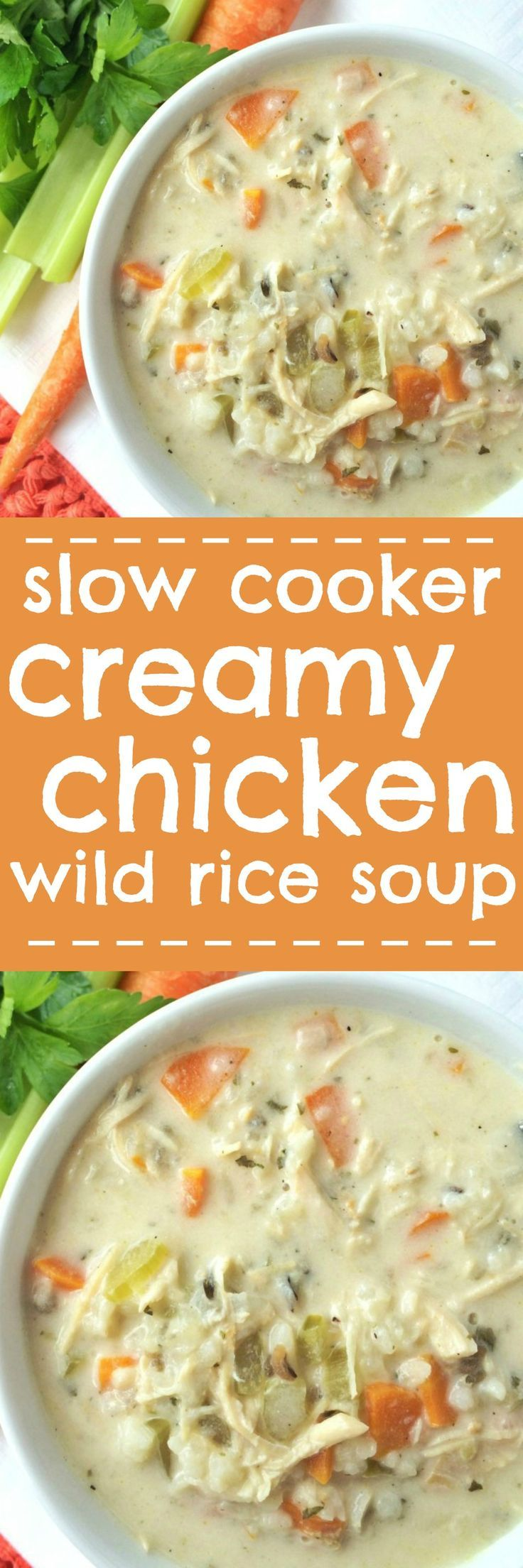 Creamy Chicken Wild Rice Soup - A family favorite recipe for chilly days. Creamy, flavorful broth loaded with shredded chicken, carrots, celery and wild rice. This cooks all day in the slow cooker and uses a package of rice-a-roni for convenience. This st