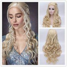Daenerys targaryen hoge kwaliteit golvend lange light golden blond cosplay pruiken anime movie game of thrones pruik haar gratis verzending(China (Mainland))
