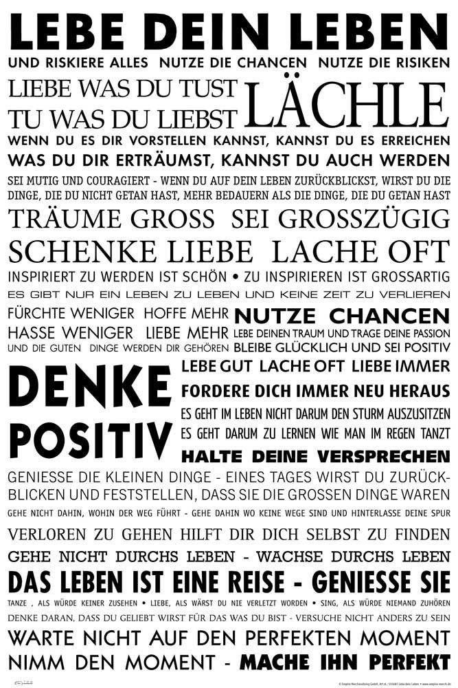 Empire 555687 Motivational - Lebe Dein Leben Motivations Poster Plakat Druck 61 x 91.5 cm: Amazon.de: Küche & Haushalt