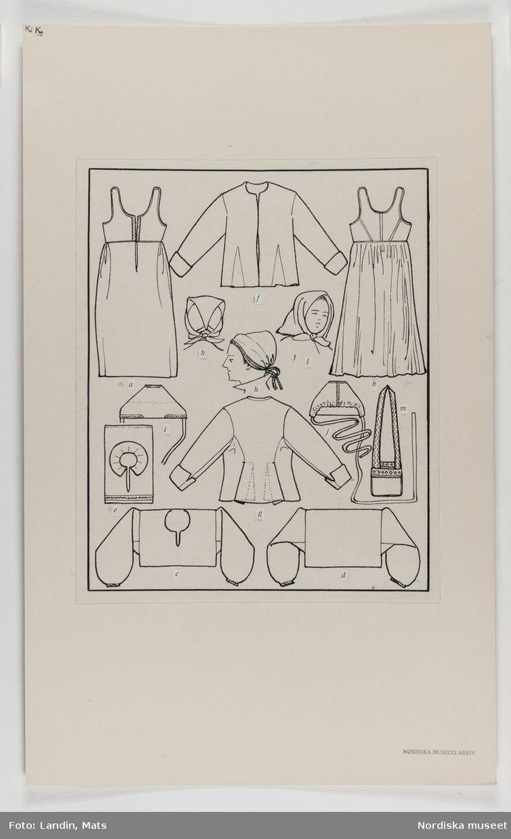 DigitaltMuseum - Sommarhögtidsdräkt för gift kvinna Mora Socken, Dalarna. Teckning av E.v.Walterstorff. Emelie von Walterstorff.