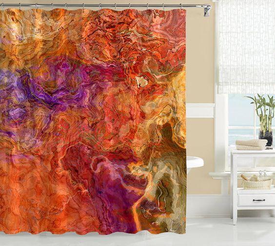 Contemporary shower curtain, abstract art bathroom decor, red orange, golden yellow and purple curtain, bathroom art, Mediterranean