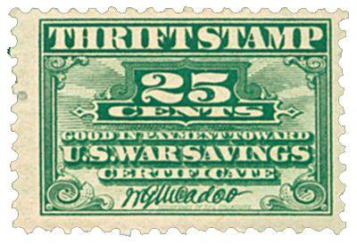 The first 25¢ War Savings Thrift Stamp.