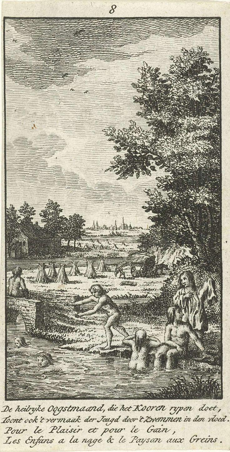 Jan Caspar Philips | Augustus: hooioogst, Jan Caspar Philips, 1736 - 1775 | De maand augustus: kinderen zwemmen in een rivier. Op de oever staan hooibalen. In de marge een tweeregelig gedicht in het Nederlands en in het Frans.