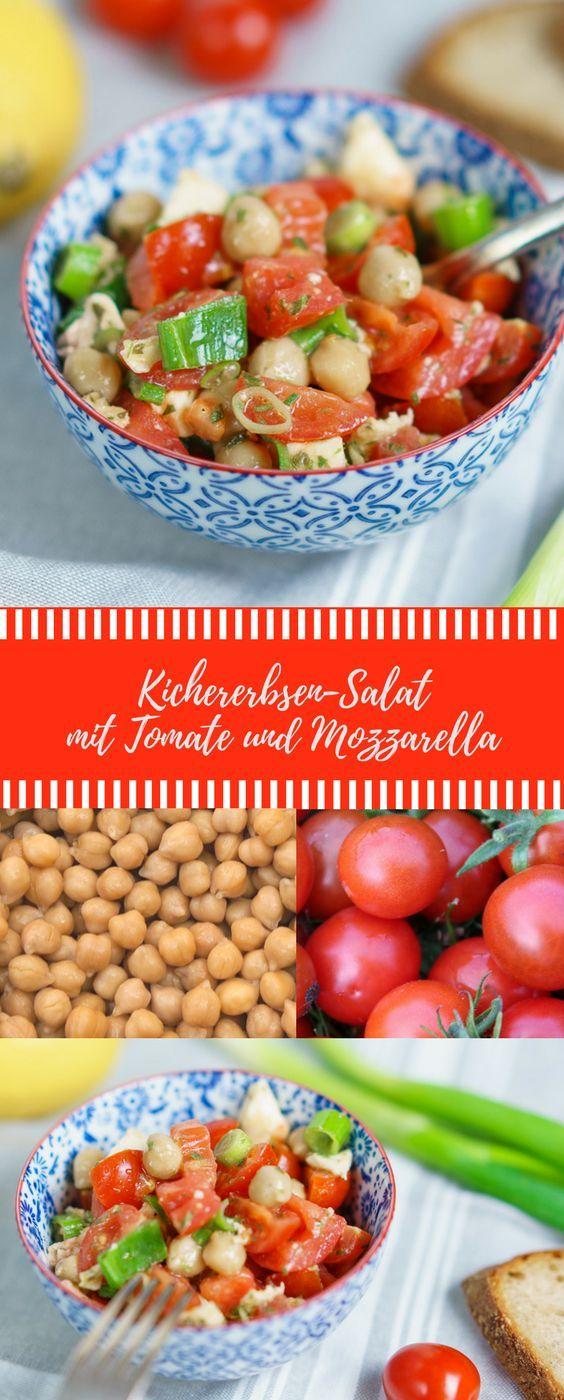 Salat mit Kichererbsen, Tomate und Mozzarella. Leckerer Salat #salat #abnehmen #kichererbsen #gesund #rezept