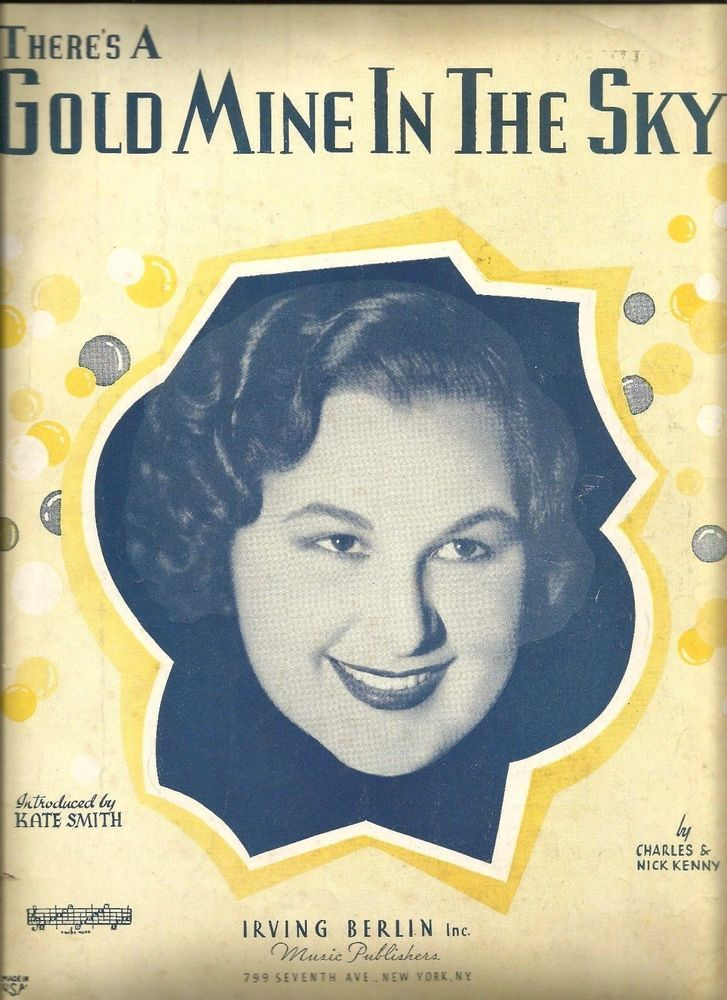 "Kate Smith 1937 There's A Gold Mine In The Sky"" Vintage Sheet Music marie2art"