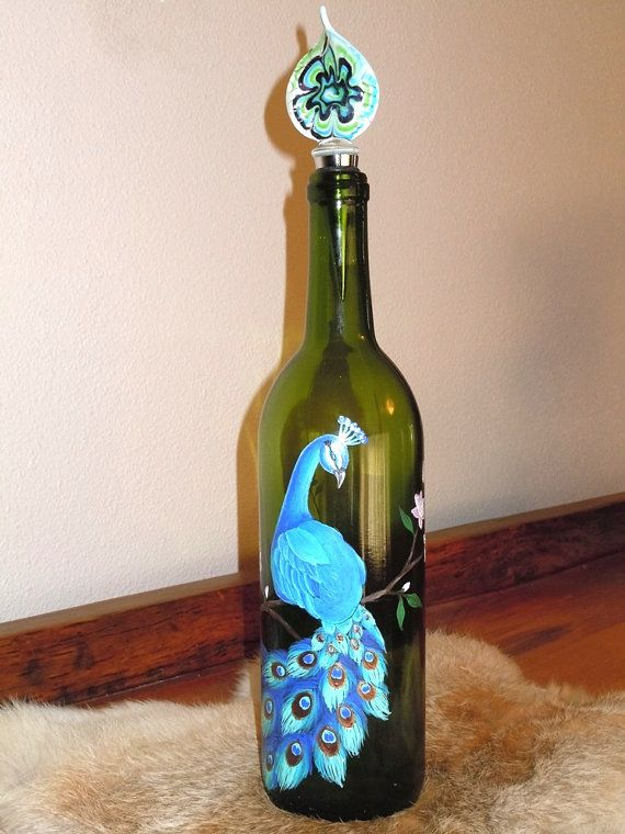 Hand painted wine bottle wine bottle decor pinterest for Hand painted glass bottles