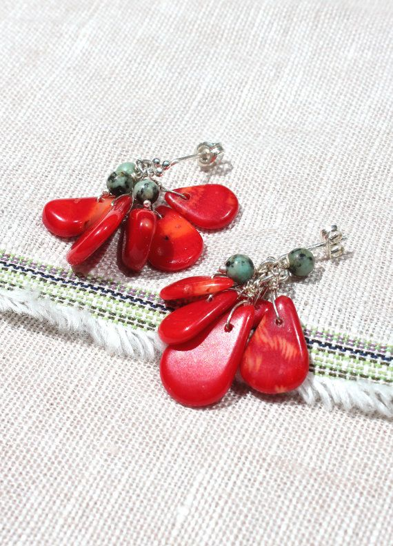 S15-S1-0010  pierced earring  high:3cm  dyed coral african turquoise silver925   To Japan domestic sending customers(日本国内のお客様へ)