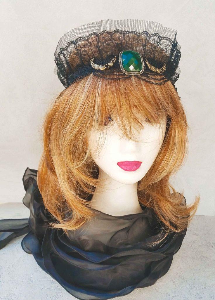 Magnifique Headband Bijou de tête en Dentelle Noire et voilette : Accessoires coiffure par ysabell