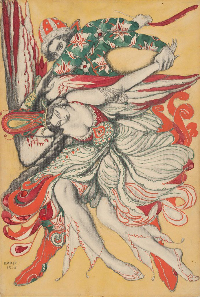 Poster design for the ballet The Firebird (L'Oiseau de feu) by I. Stravinsky, 1915, Leon Bakst. Russian (1866 - 1924)