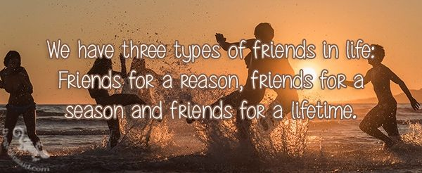 We have three types of friends in life: Friends for a reason, friends for a season and friends for a lifetime.  #friends #life #reason #season #lifetime #three #quotes  ©The Gecko Said - Beautiful Quotes