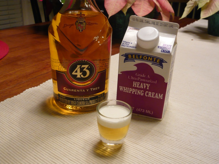 Little Beer Shot - Licor 43 and Whipping Cream! Very Yummy! Had these in Mexico, and they are soooo good. But they can be dangerous haha