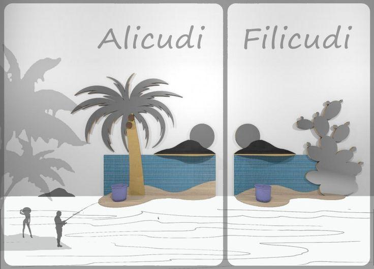 Formabilio - Alicudi e Filicudi: due isole tutte made in Italy divertenti e decorative per dare un'anima esotica e decorativa agli ambienti di casa. Un complemento d'arredo da fissare ad parete che è appendiabiti, mensola, svuota tasche, specchio, porta ombrelli e lavagna. Composto da pannelli sagomati in legni differenti, ogni legno ha una specifica funzione. L' acero: per realizzare ripiano e l'anima dell'isola del sole e in Filicudi l'anima del fico d'india. Il pioppo: per realizzare le…