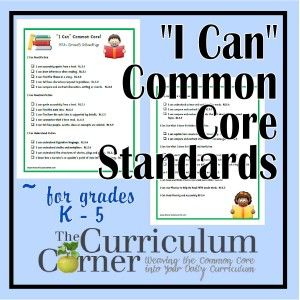 FREE  I Can Common Core Standards for grades kindergarten through 5th grade.  These are written in kid friendly language.  What a great resource.  Love the idea of sharing with parents at conferences or providing for older students to monitor their own progress.