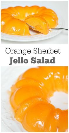 Orange Sherbet Jello Salad recipe : just 3 ingredients! This salad is always a hit with both the adults and kids at summer barbecues, holidays and potlucks.