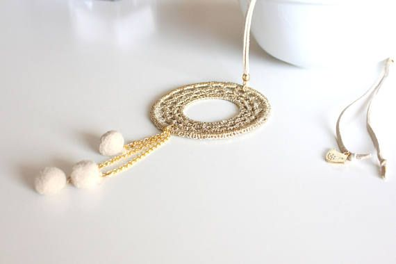 Check out this item in my Etsy shop https://www.etsy.com/listing/508834070/beige-long-necklace-with-pendant-tassel