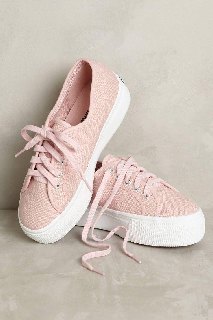 Superga Pink Canvas Platform Sneakers