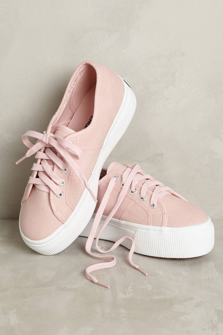 Superga Pink Canvas Platform Sneakers