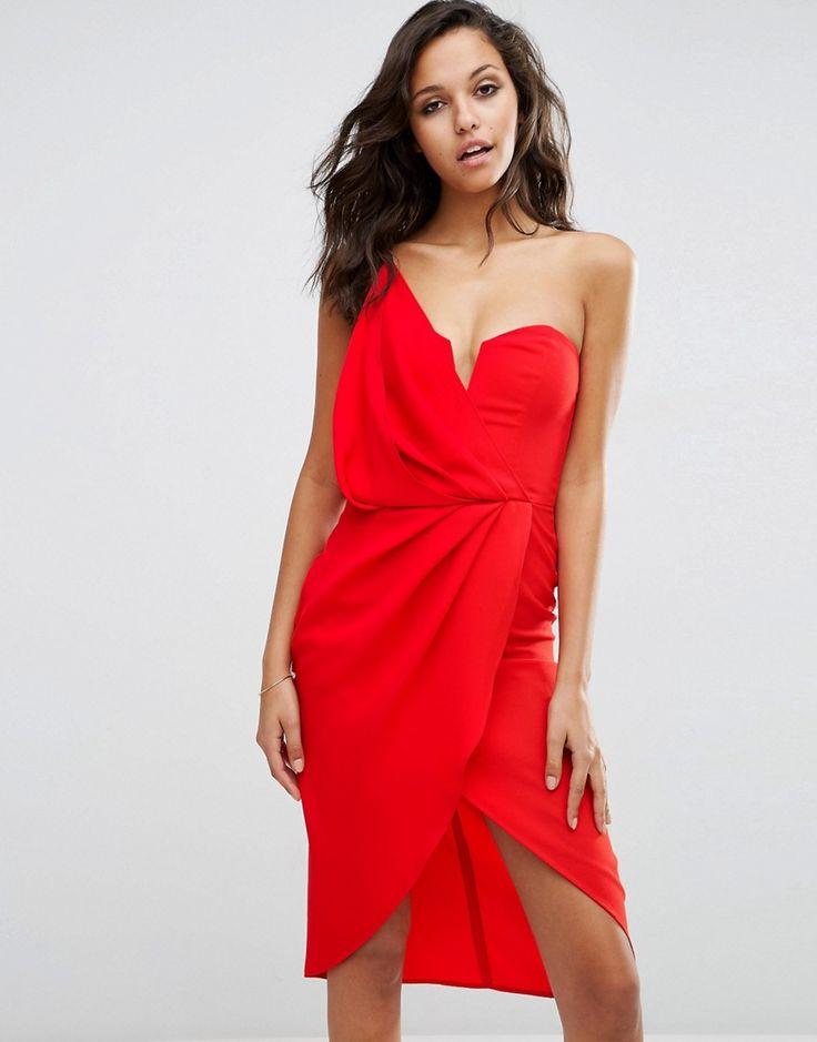 Image 1 ofASOS Asymmetric One Shoulder Wrap Front Pencil Dress