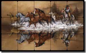 "Sorenson Western Horses Tumbled Marble Tile Mural 30"" x 18"" - RW-JS007"