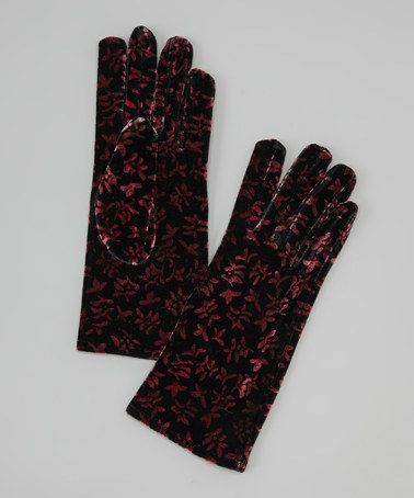 Take a look at this Pink & Black Floral Gloves by Italmode on #zulily today!