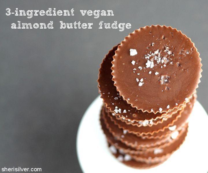 3 Ingredient Vegan Almond Butter Fudge l sherisilver.com