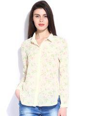 Elle Women Cream-Coloured Printed Top