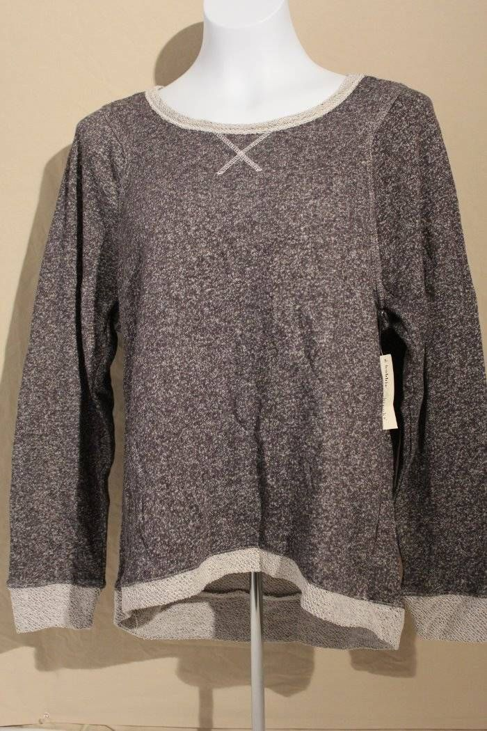 Womens Knit Top Size Medium Ladies Sweater Gray Crew Neck High Low Shirt