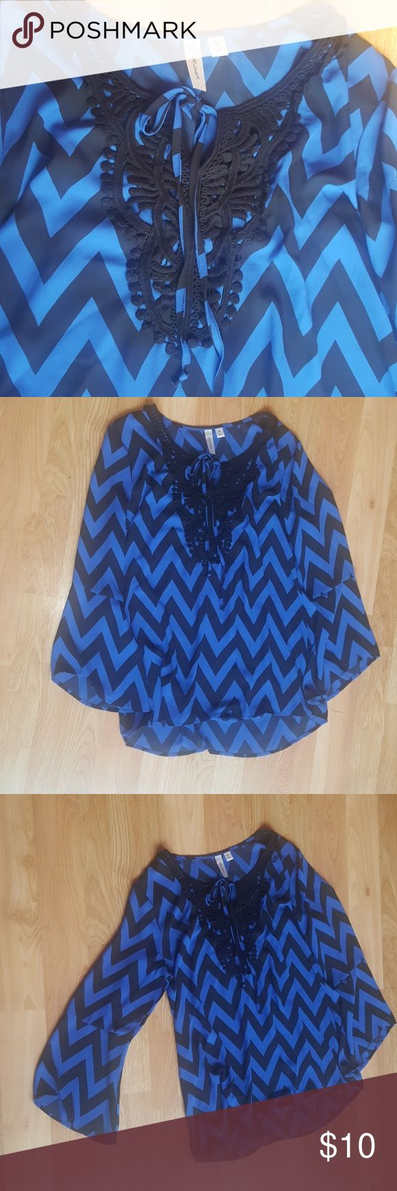Chevron blouse Blue and black very nice blouse used once :) BELT NOT INCLUDED ?? tacera Tops Blouses