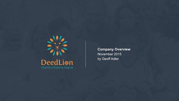 Branding for Deed Lion. A crowd funding charity program. https://www.noeticbrands.com/project/204622/