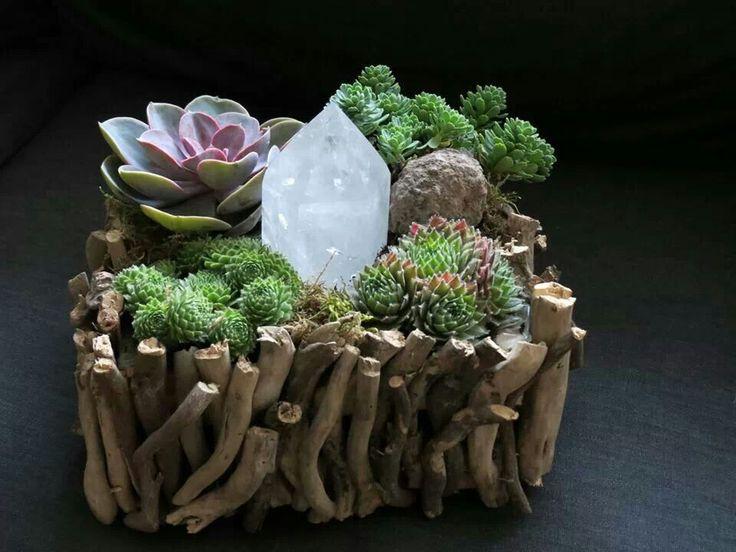 Broken stick crystal garden