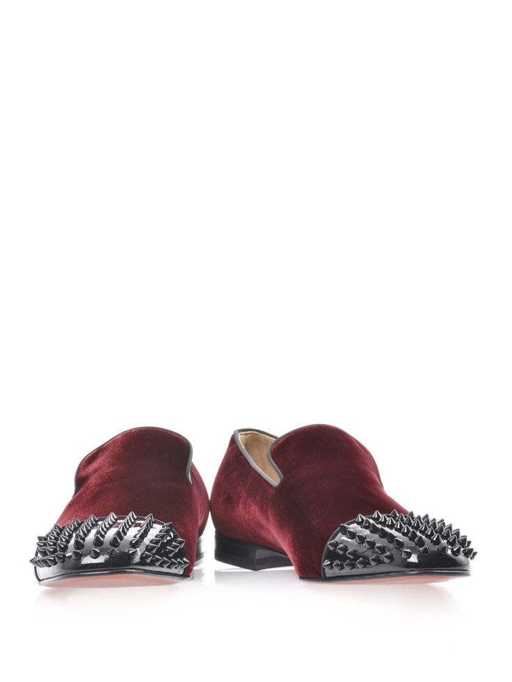 louboutin black spikes - Burgundy velvet loafers with black piped edges and small stacked ...