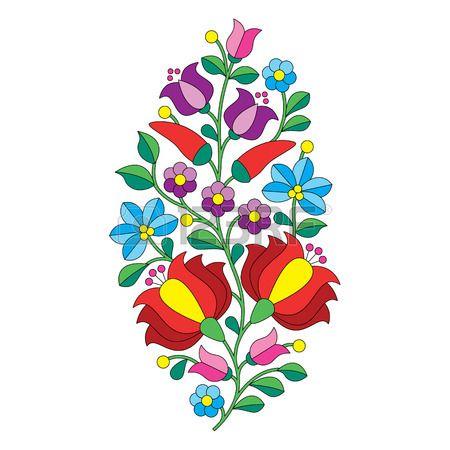 Patr n popular h ngara bordado Kalocsai con flores y piment n Foto de archivo