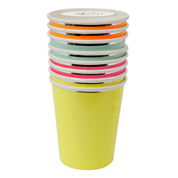 Meri Meri Neon Cups available from www.theprettybaker.co.nz  #theprettybaker #scienceparty #kidsparty #partythemes #partystyling #partysupplies #partyshop #partyblog