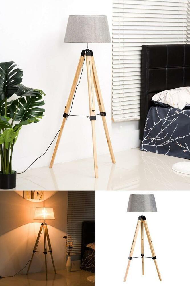 Modern Tripod Floor Lamp Linen Shade Adjustable Wooden Bedroom