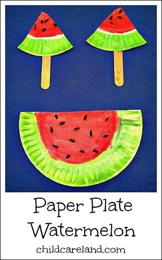 Paper Plate Watermelon  - Pinned by @PediaStaff – Please Visit ht.ly/63sNtfor all our pediatric therapy pins