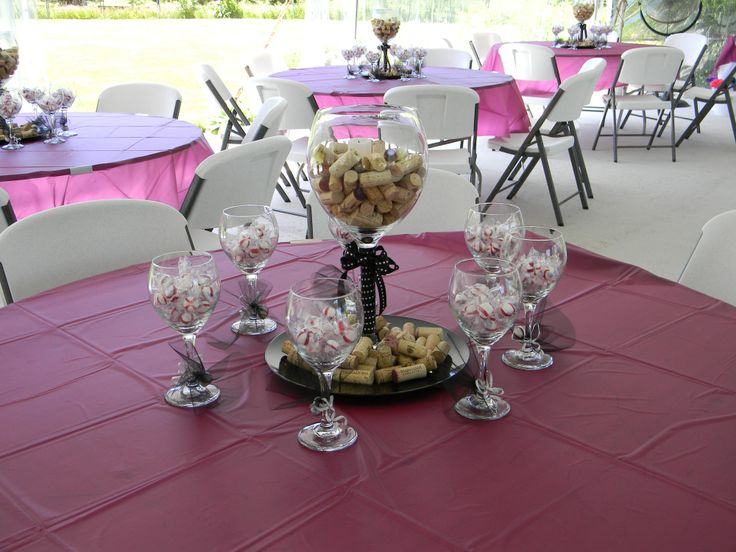 69 best wine themed bridal shower images on pinterest for Wine themed centerpieces