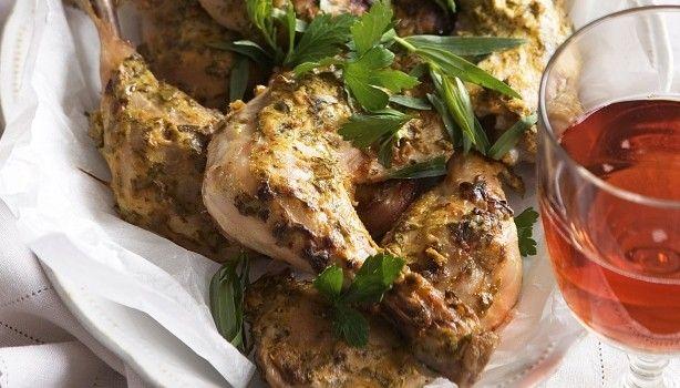 Ψητό κοτόπουλο με μουστάρδα και μυρωδάτα βότανα