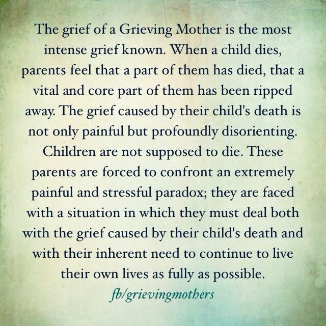 The grief of a grieving mother and father.... absolutely true words. My dear sweet innocent child KALEE JO GOING ON THROUGH LIFE WITHOUT YOU IS SO PAINFULLY HARD. 10/4/2009