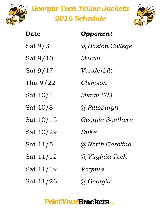 best tech football schedule ideas uk football  printable tech yellow jackets football schedule 2016