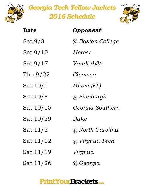 Printable Georgia Tech Yellow Jackets Football Schedule 2016