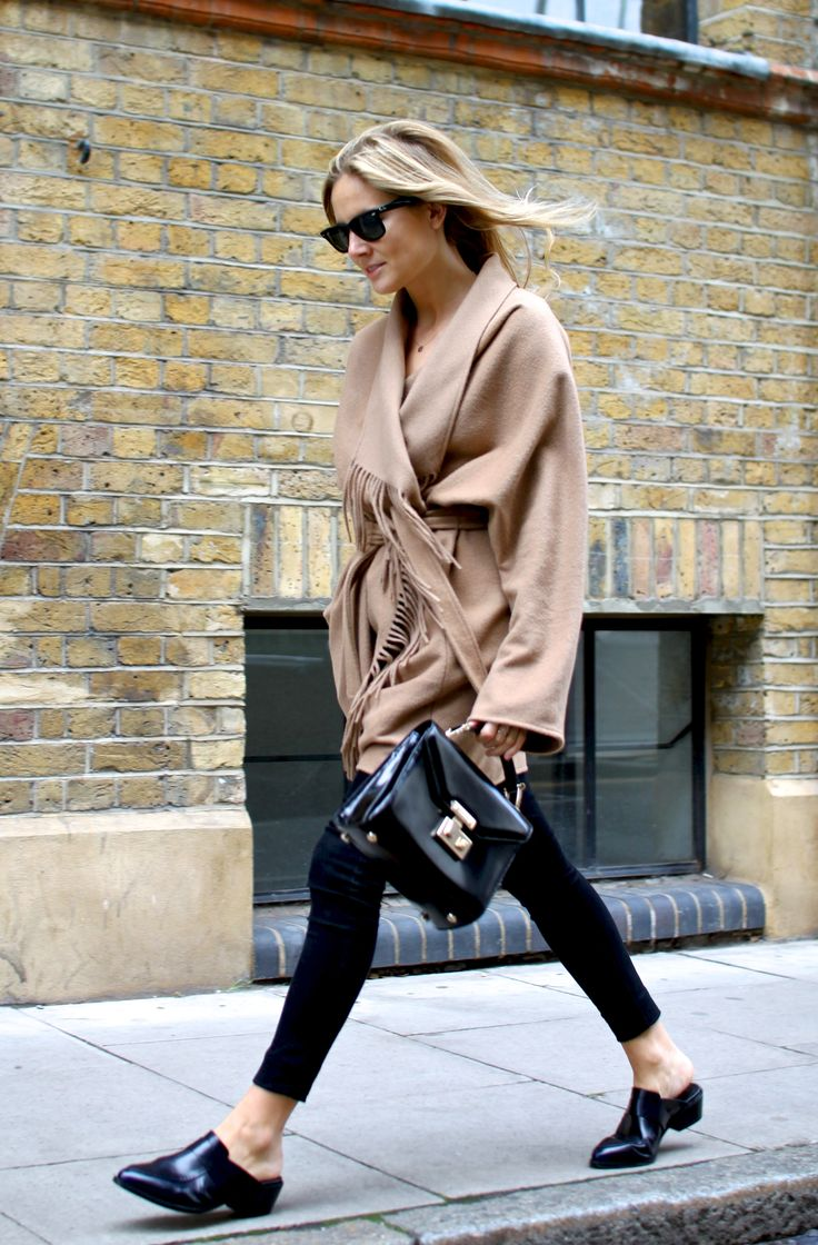 camel belted coat, cropped pant, small bag & mule flats