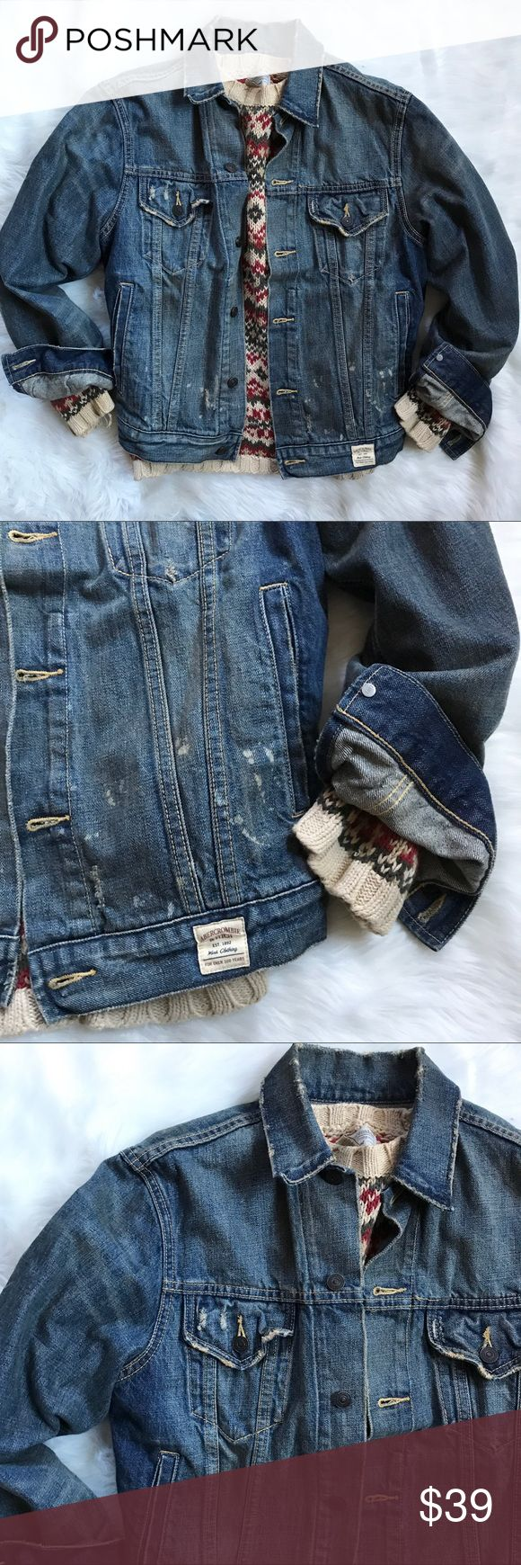Mens Abercrombie Distressed Denim Jean Jacket Mens Abercrombie Distressed Denim Jean Jacket. Worn style. Splats are part of design. Good condition. Size small Abercrombie & Fitch Jackets & Coats