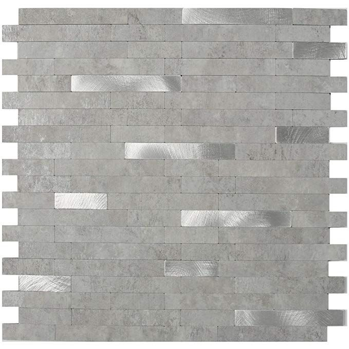Peel Stick Stone Tile Backsplash Metal Grey Brush Silver Design 11 5 X 11 7 Stone Tile Backsplash Metallic Backsplash Tile Backsplash