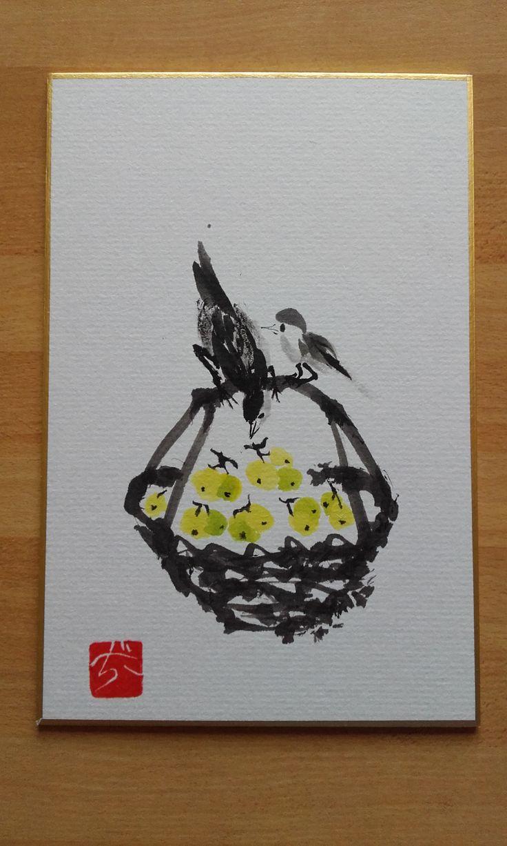 Uccellini su cesto d'uva - Sumi-e