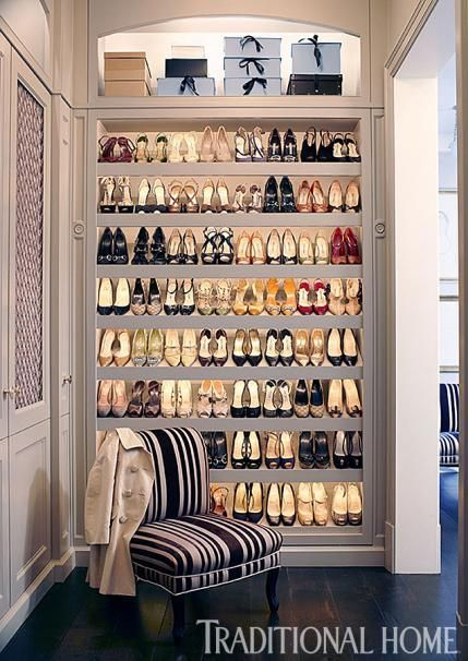 a lighted shelving unit displays an enviable collection of heels well take it - Home Closet Design