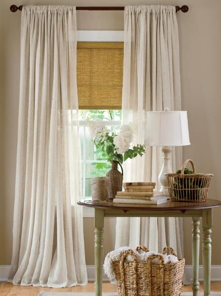 Love this whole vignette, but the curtains and shade are the main points, lol   Sheer Linen Rod Pocket Curtains - Country Curtains®