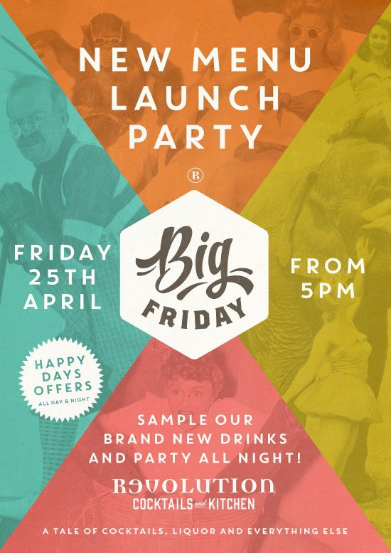Big Friday New Menu Launch Party Graphic Design For Revolution Vodka Bar By