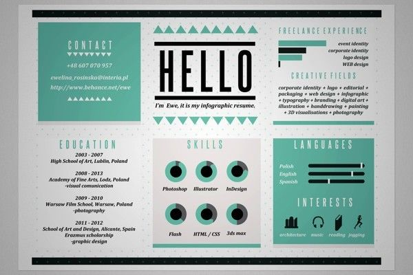 Portfolio by Ewelina Rosinska, via Behance; great idea for infographic resume!