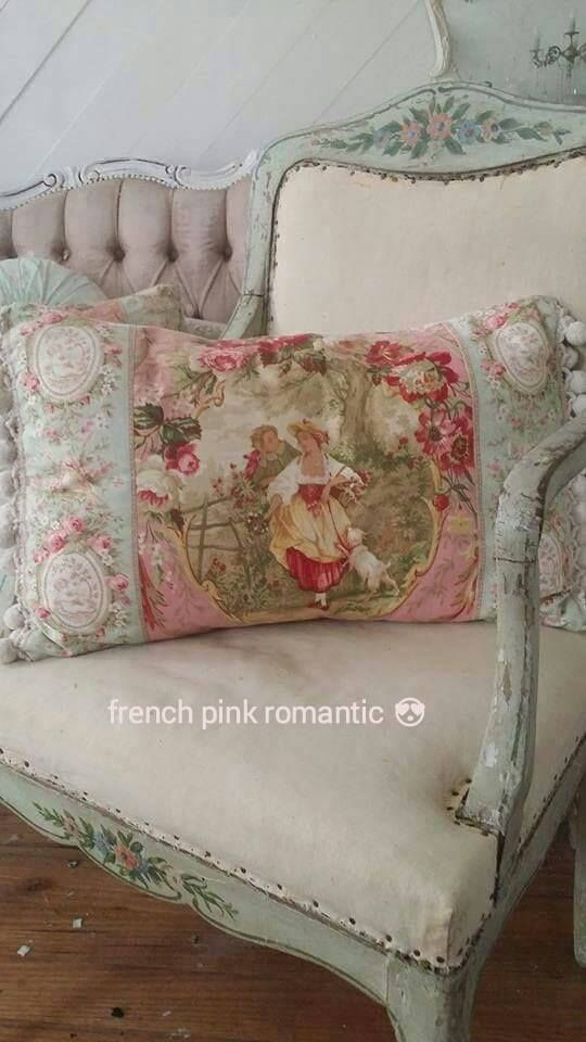 Beautiful cushion fabrics on French ebay . . . cherubs, little sailor boys, toile, and more.